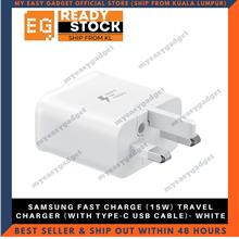 SAMSUNG FAST CHARGE (15W) TRAVEL CHARGER (WITH TYPE-C USB CABLE)- WHIT