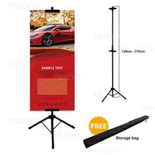 Adjustable Banner Bunting 210cm Poster Tripod Stand Double Sided Clip