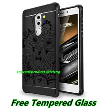 Huawei Honor 6X Silicone Armor Back Case Cover Casing + Tempered Glass