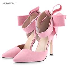 GUMANDUO ELEGANT OVERSIZE BOWKNOT MAGIC TAPE LADIES HIGH HEEL SHOES (PINK)