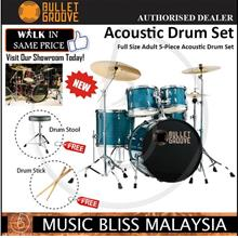 Bullet Groove Full Size Adult 5-Piece Acoustic Drum Set(Hairline Blue)