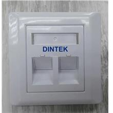 DINTEK 2 Port Angle Type Face plate with Shutter UK Type (1303-12025)