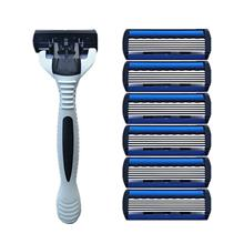 1+4 Combo Men Safety Classic 6 Layers Shaving Hair Blade Razor Stainle..