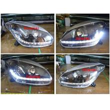 Perodua Myvi 2005-08 Projector Head Lamp LED Daylight R8 Black 1-pair