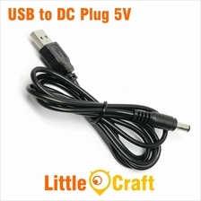 USB to 5V DC Plug 5.5 x 2.1mm Cable 1 Meter