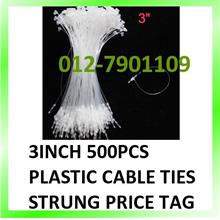 3inch 500pcs Plastic Cable Ties Strung Clothes Price Tag Cards