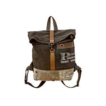 "Clea Ray Recycled Green Brown Canvas Large Roll Top Backpack,  ""Peace Pat"