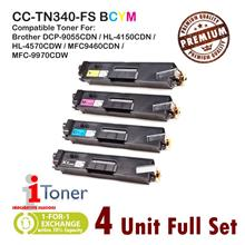 Brother TN310 / TN340 Grade-A Compatible Toner (4 Unit Full Set)