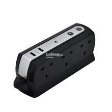 Masterplug  2 Meter 6 Gang Surge Protection Two 2.1A (SRGDU62PB2-MY)