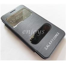 BLACK S View Flip Battery Cover Samsung Galaxy Core 2 G355 G355H *XPD