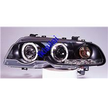 Bmw E46 98-01 2D Projector HEAD LAMP LED Ring With Motor Black