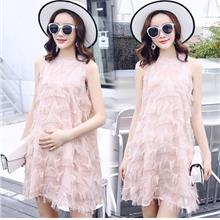 FairyCity Pregnant Tassel Loose Chiffon Sleeveless Dress [Pre-Order] K