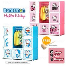 DIY Doraemon Hello Kitty 9 Cube Rack Storage Cabinet Wardrobe Hanger