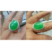 NATURAL GREEN JADEITE SOLID  925  SILVER RING
