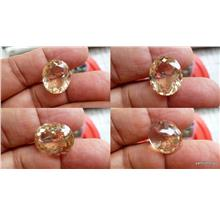 SUPERB CUT LIGHT YELLOW QUARTZ CRYSTAL OVAL