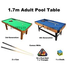 Upgraded 1.7m 170cm Adult Snooker Billiard Pool Table Balls Cues