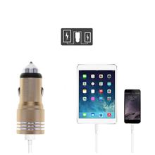 Universal Dual USB Car Charger Metal Safety Hammer Adapter With Blueto..