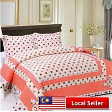 HIGH QUALITY BEDSHEET PATCHWORK QUEEN SET OF 3 POKA DOT WITH LACE BORDER