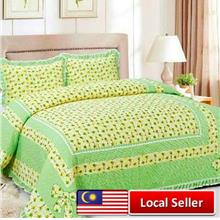 HIGH QUALITY BEDSHEET PATCHWORK QUEEN SET OF 3 GREEN SUNFLOWER WITH LACE BORDE
