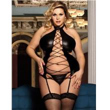CELLY Plus Size Black Sexy Lady Leather Lingerie  (CSOH R80467P)