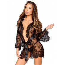 CELLY Plus Size Black Delicate Lace Sleepwear Gown (CSOH R80534-1P)