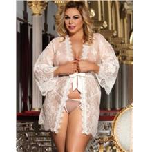 CELLY Plus Size White Delicate Lace Sleepwear Gown (CSOH R80528-2P)