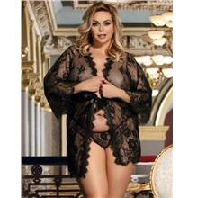 CELLY Plus Size Black Delicate Lace Sleepwear Gown (CSOH R80528-1P)