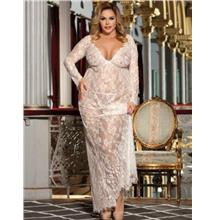 CELLY White Delicate Lace Long Sleepwear Gown (CSOH R80497-2P)