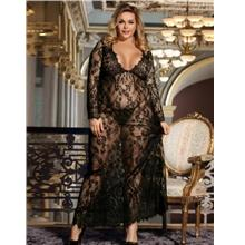CELLY Black Delicate Lace Long Sleepwear Gown (CSOH R80497-1P)