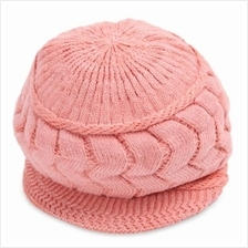 WINTER PURE COLOR EAR PROTECTION LADIES WARM KNITTED CRICKET CAP (PINK)