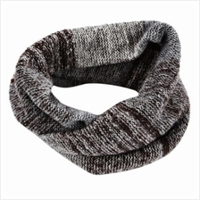 CASUAL COLOR BLOCK RAINBOW DESIGN LADIES WARM KNITTED SCARF (KHAKI)