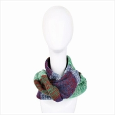 CASUAL COLOR BLOCK RAINBOW DESIGN LADIES WARM KNITTED SCARF (GREEN)