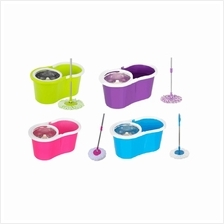 Deluxe Magic Spin Mop Stainless Steel Easy Press Mop Bucket Set + 2 Mo