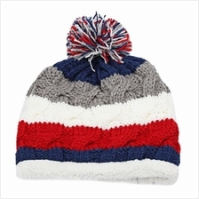 CASUAL WINTER COLOR BLOCK VENONAT DESIGN GIRLS WARM INSIDE KNITTED HAT (GREY A