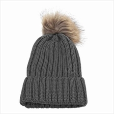 STYLISH WINTER VENONAT DESIGN SOLID COLOR LADIES KNITTED HAT (DEEP GRAY)