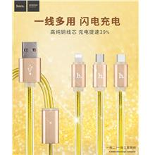 3 in1 Ready Stock HOCO Micro USB Type-C Apple Lightning Charging Cable