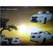 Nissan Almera Sportivo Style Full Set Body Kit with Spoiler Painted