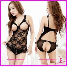 Women Lace See-Through Open Crotch Teddies Sleepwear Sexy Lingerie -