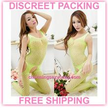Sexy Fishnet Body Stocking Green Open Crotch Sleepwear Lingerie  -