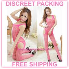 Sexy Fishnet Body Stocking RoseRed Open Crotch Sleepwear Lingerie  -
