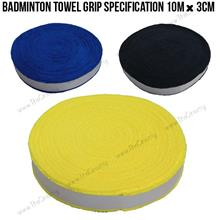 Badminton towel grip Specification 10m*3cm ( Yellow , Black , Blue )