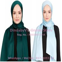 [DindabyV] Set of 2 Woman's Imitate Silk Satin Shawl / Hijab 702D