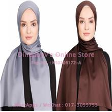 [DindabyV] Set of 2 Woman's Imitate Silk Satin Shawl / Hijab 702C