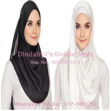 [DindabyV] Set of 2 Woman's Imitate Silk Satin Shawl / Hijab 702E
