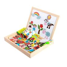 Wooden Magnetic Puzzle White Board Blackboard