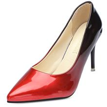 Pointed Toe Stiletto Heel Slip-on Gradient Color Women Shoes (RED)