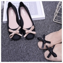 Shallow Mouth Square Head Small Fragrance Bow Flat Ballet Shoes