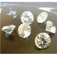 Cubic Zirconia Calibrated Lot 6pcs Simulant Diamond White 5mm