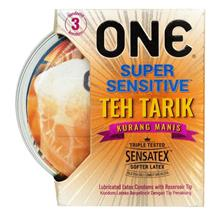 ONE Condom Super Sensitive Teh Tarik Kurang Manis - 3 pcs