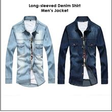 New Long-sleeved Denim Shirt Jacket Wash Water Slim Casual Men's Shirt
